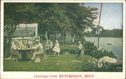 Family Picnic by the Water Postcard