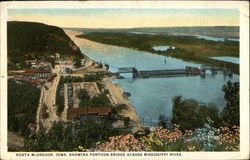 Bird's Eye View showing Pontoon Bridge Across Mississippi River