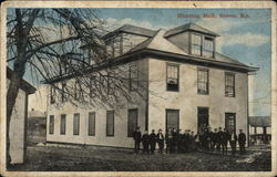 View of Hunting Hall with Men Gathered Outside