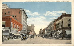 Looking South on Houston Street from Third Street Postcard