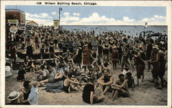 Wilson Bathing Beach Crowded with Sunbathers Postcard