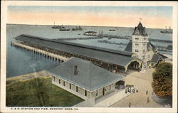 Bird's Eye View of the C & O Station and Pier Postcard