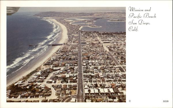 Aerial View of Mission and Pacific Beach San Diego California