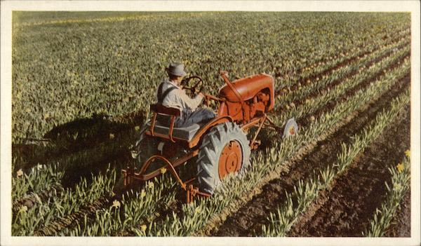 Farmer Riding Allis-Chalmers Tractor