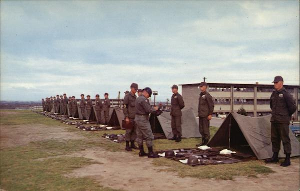 A Company Commander Inspects Trainees in a full Field Inspection Fort Ord California