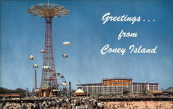 Greetings....Showing the Famous Parachute Jump, Steeplechase, Boardwalk & Bathing Beach