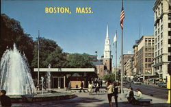 Tremont Street Fountain & Mall, Boston Common, and Park Street Church Postcard