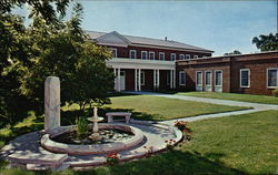 Yates College Union Building with Memorial Fountain in Foreground, William Jewell College Postcard