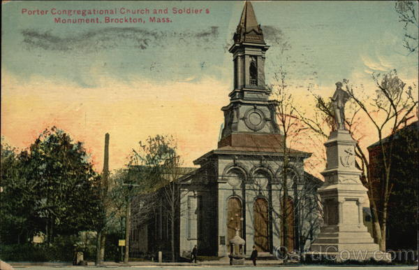 Porter Congregational Church and Soldiers Monument Brockton Massachusetts