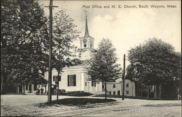 Street View of US Post Office and M.E. Church South Walpole Massachusetts
