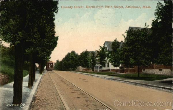 View of Country Street, North from Fifth Street Attleboro Massachusetts