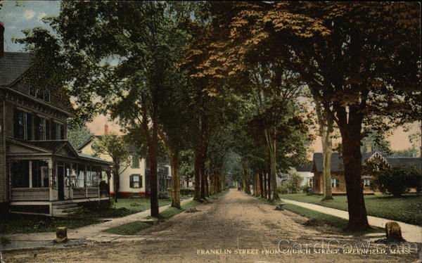 Residential View of Franklin Street from Church Street Greenfield Massachusetts