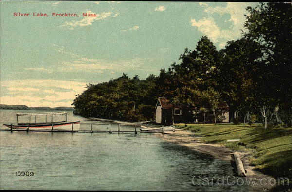 Cottage and Boat on Silver Lake Brockton Massachusetts