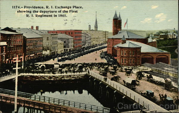 Exchange Place, showing the departure of the First RI Regiment in 1861 Providence Rhode Island