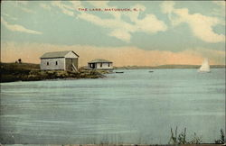 """The Lake"" - View of Water, Two Cottages, and Sailboat"