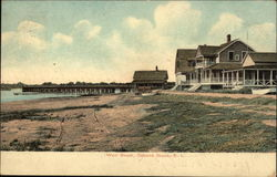 Houses and Pier on West Beach Postcard
