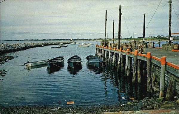 Working Boats Tied to Fish Dock Inside the Breakwater Sakonnet Rhode Island