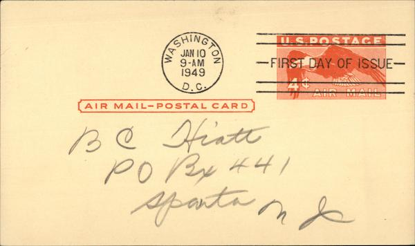 Air Mail Postage Stamp - First Day of Issue - January 10, 1949