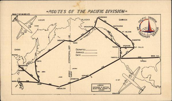 Routes of the Pacific Division Air Transport Service