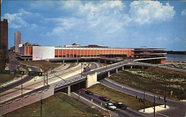 Bird S Eye View Of Cobo Hall And Expressways Detroit Mi