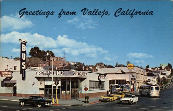 View of Town and Greyhound Bus Station Vallejo California