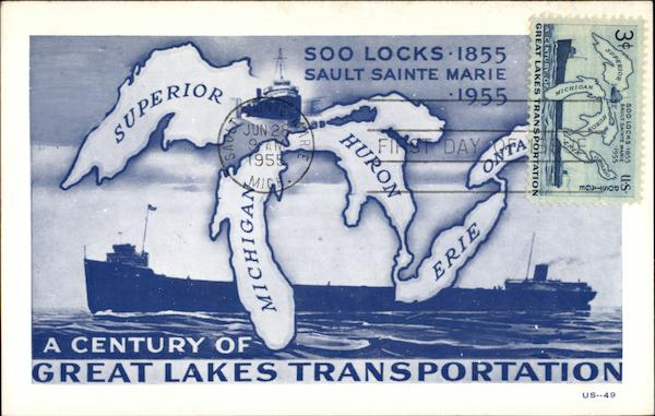 A Century of Great Lakes Transportation, Soo Locks 1855 Sault Sainte Marie 1955