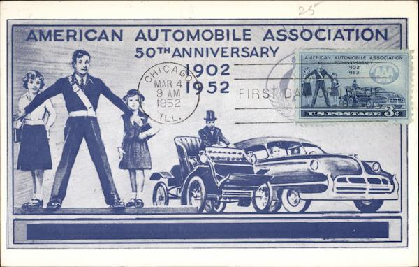 american automobile association 50th anniversary 1902 1952 maximum cards. Black Bedroom Furniture Sets. Home Design Ideas