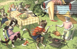 Cats Having a Barbeque