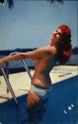 """Cooling Off"" - Topless Redhead on Swimming Pool Ladder"