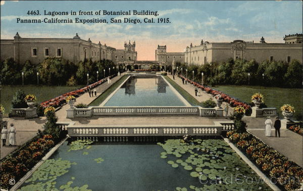 Lagoons in Front of Botanical Building 1915 Panama-California Exposition
