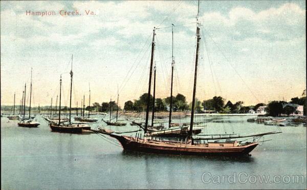 Boats at Anchor, Hampton Creek Norfolk Virginia