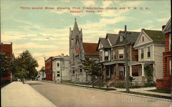 32nd Street showing First Presbyterian Church and Y.M.C.A Newport News Virginia