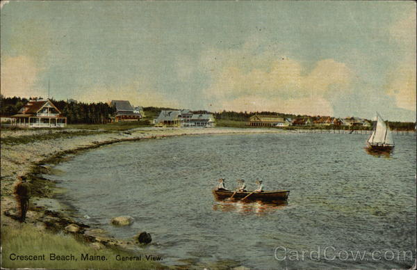 General Shore View with Boats & Houses in the Distance Crescent Beach Maine