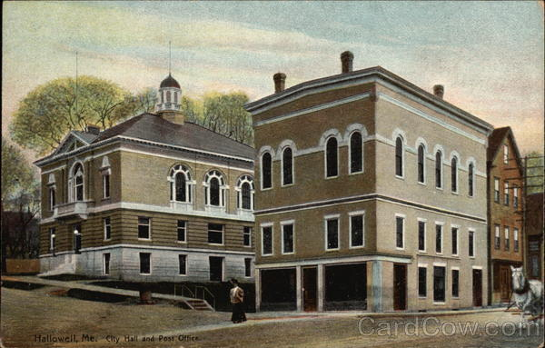 City Hall and Post Office Hallowell Maine