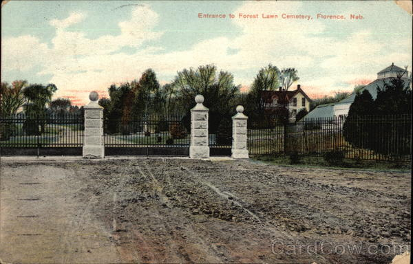 Entrance to Forest Lawn Cemetery Florence Nebraska