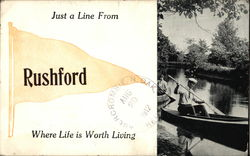 Just a Line From Rushford Where Life is Worth Living Postcard