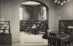 Interior of Library Postcard