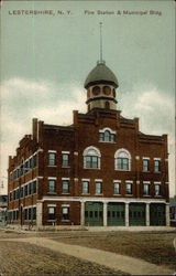 Fire Station and Municipal Building Postcard
