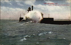 """Up Against It"" - Lighthouse on Lake Michigan"