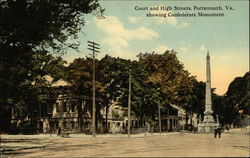 Court and High Streets, showing Confederate Monument