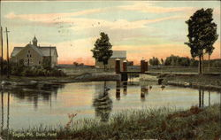 Scenic View of Duck Pond at Sunset