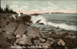 People Enjoying the Surf on Back Shore Postcard