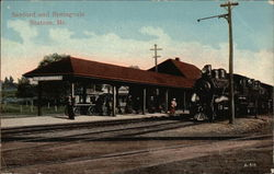 Railroad Depot at Sanford and Springvale Postcard