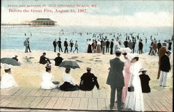 Beach and Bathers at Old Orchard Beach, Me., Before the Great Fire, August 15, 1907