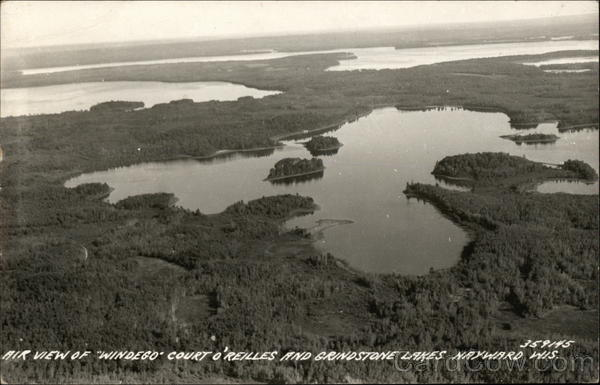 Air View of Windego Court O'Reilles and Grindstone Lakes Hayward Wisconsin