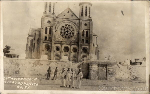 View of Catholic Church Port au Prince Haiti Caribbean Islands