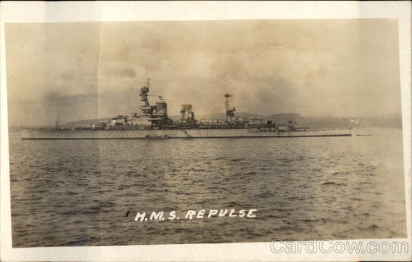 HMS Repulse on the Water Military