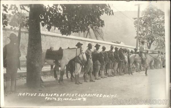 Native Soldiers in Uniform with Horses Port-au-prince Haiti