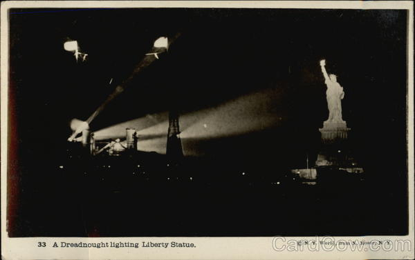 A Dreadnought Lighting Liberty Statue New York
