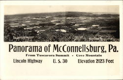 Panorama View from Tuscarora Summit to Cove Mountain - Elevation 2123 Feet Postcard